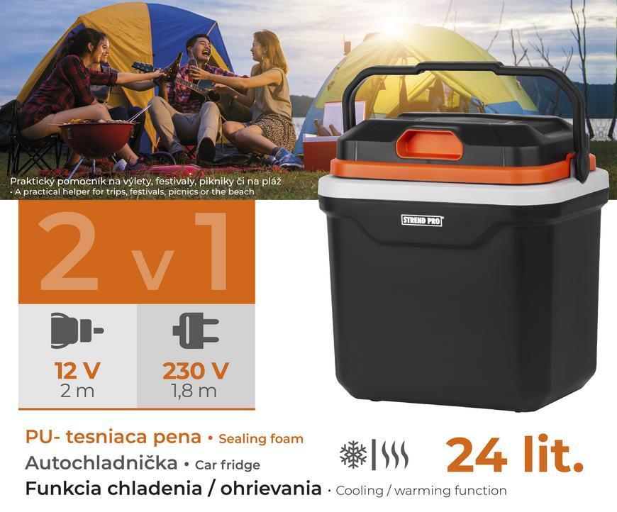 Autochladnička Strend Pro, 2v1, 24 lit, 230V/12V, PUR izolácia