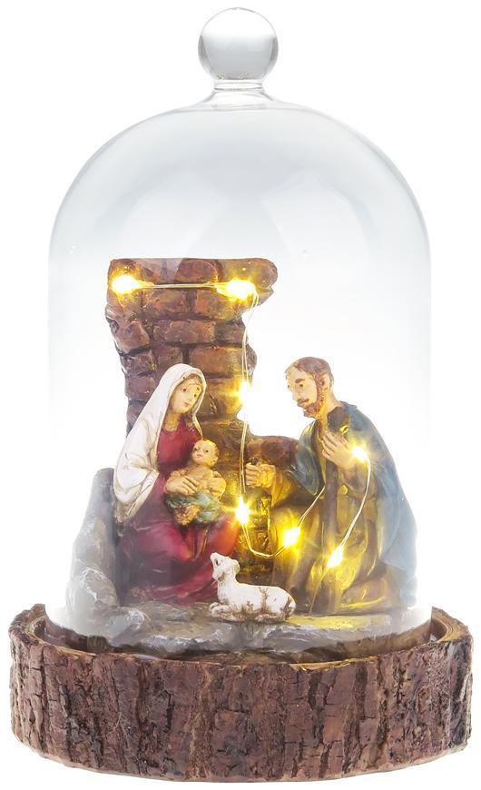 Dekorácia MagicHome Vianoce, Betlehem v sklenenej kupole, 7 LED, 2xAAA, interiér, 11,80x11,80x19 cm