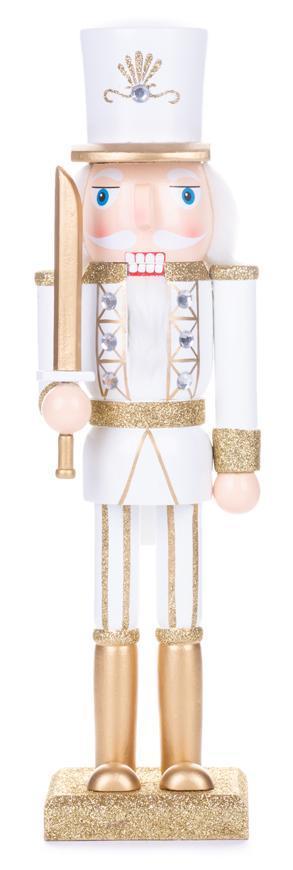 Postavička MagicHome Vianoce Woodeco, Luskáčik, zlatá, drevo, 25 cm