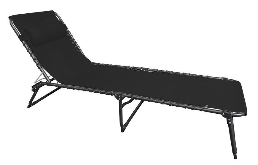 Lehatko VERACRUZ, čierne, polohovateľné, 190x58x28 cm