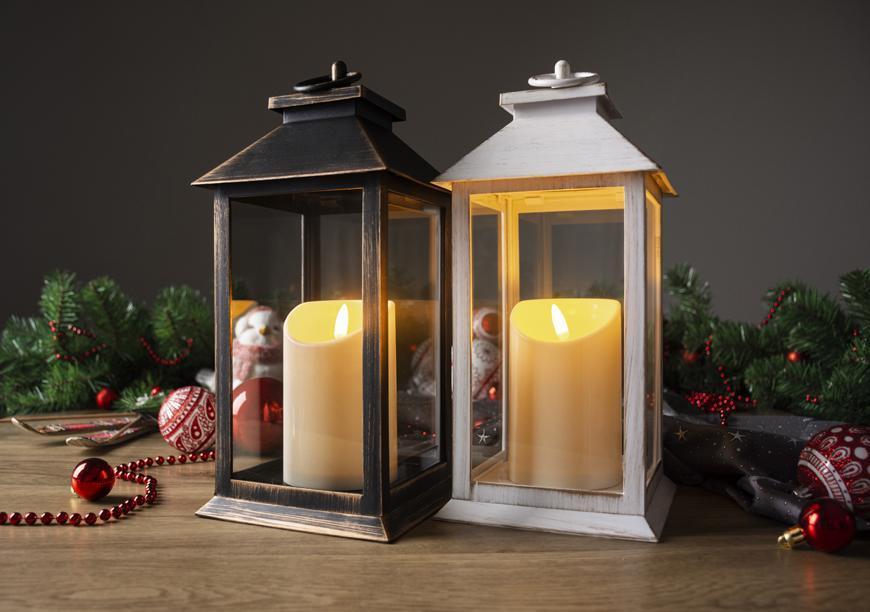Lampáš MagicHome Vianoce, LED, 3xAAA, plast, biely, 11x11x4 cm