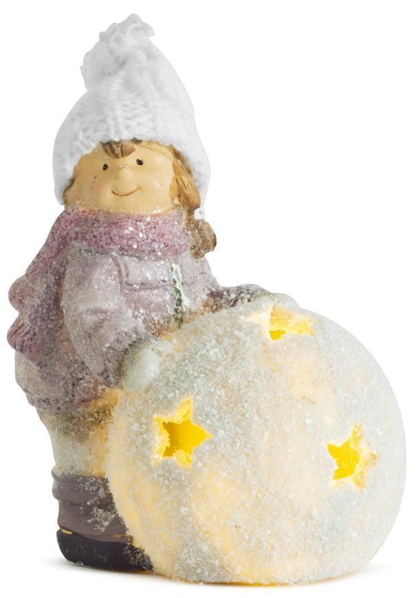 Postavička MagicHome Vianoce, Dievčatko s guľou LED, terakota, 13x9x15 cm