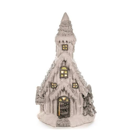 Dekorácia MagicHome Vianoce, Kostol, 10 LED žltá, keramika, 3xAAA, interiér, 30x21x52 cm