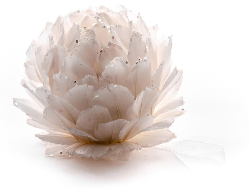 Dekorácia MagicHome, biela, 11 cm, závesná, páperová