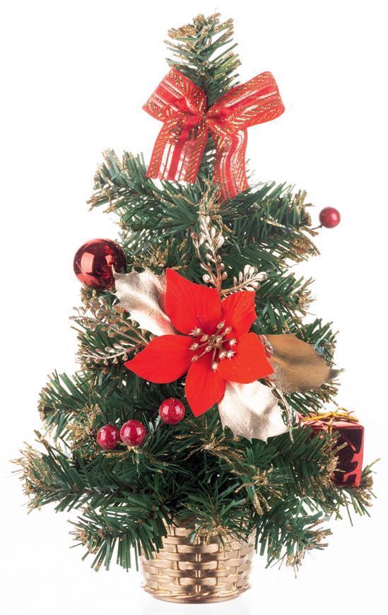 Stromček MagicHome Vianoce, ozdobený, červený, 30 cm
