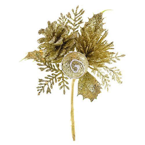 Vetvička so šiškou, zlatá 15cm, 6 ks