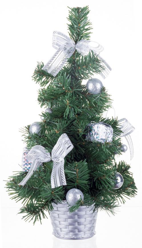 Stromček MagicHome Vianoce, ozdobený, strieborný, mašľa, 30 cm