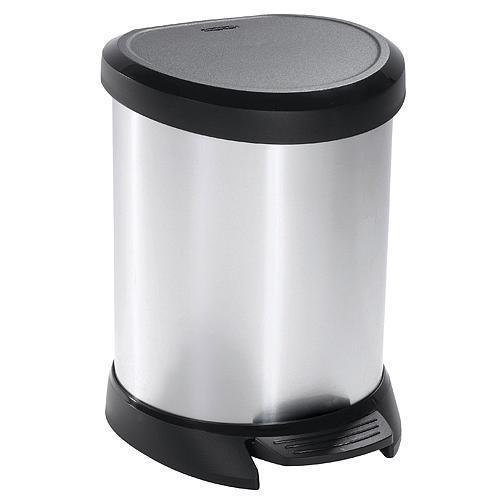 Kôš Curver® DECO BIN 05L, střibrný/černý, na odpad