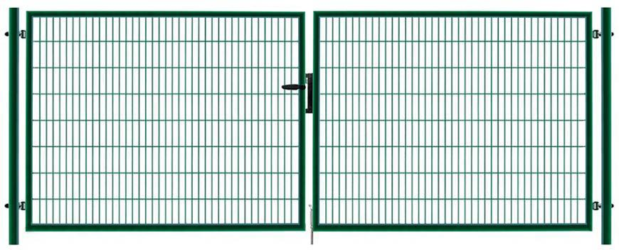 Brana METALTEC DUO 3580/1750/100x50 mm, dvojkridlova, zahradna, zelena, ZN+PVC, RAL6005