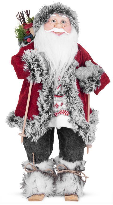 Dekorácia MagicHome Vianoce, Santa na lyžiach, 45 cm