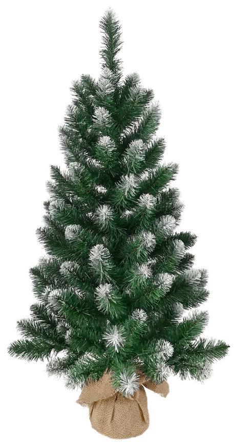 Stromček MagicHome Vianoce Nico, jedľa v jute, zasnežené konce,  90 cm