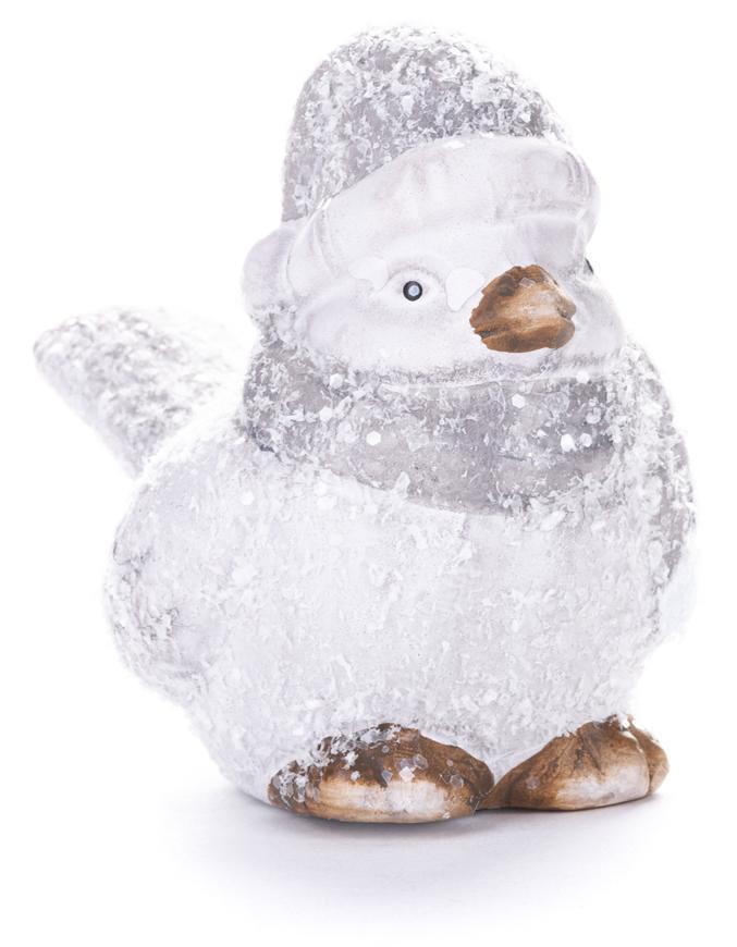 Dekorácia MagicHome Vianoce, Vtáčik sýkorka s čiapočkou, terakota, 10x5x10 cm