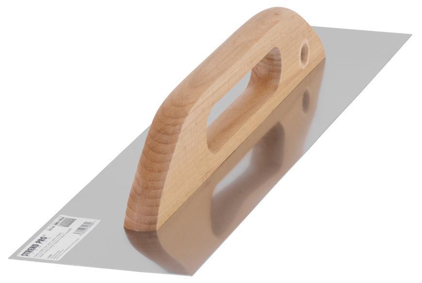 Hladítko Strend Pro Premium, 380x130 mm, 0,7 mm, rovné, nerezové, s drev. rúčkou