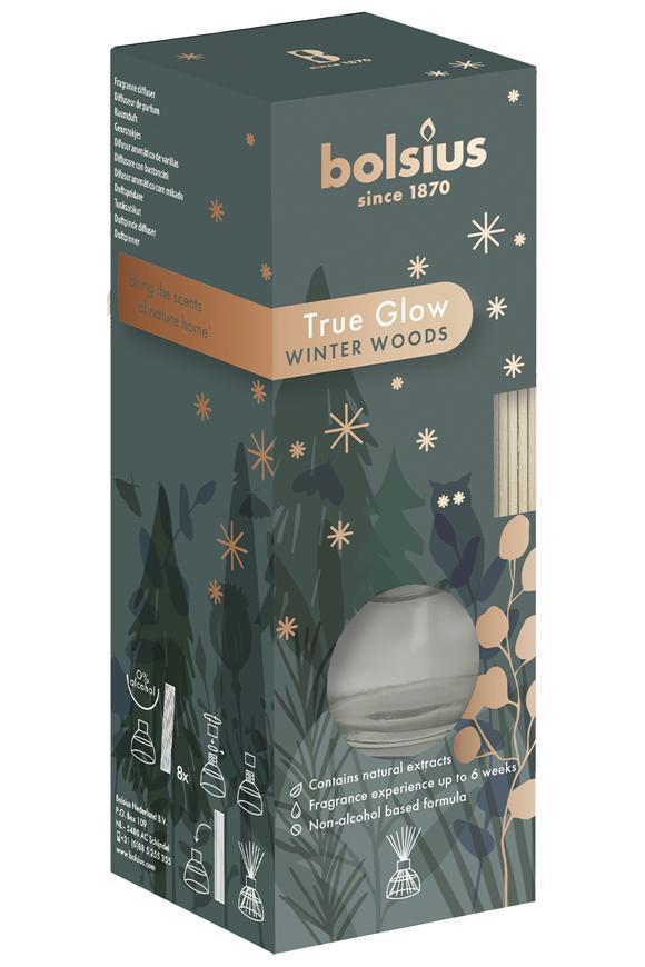 Difúzer Bolsius True Glow, rastlinný vosk, vôňa zimnej dreviny, 45 ml