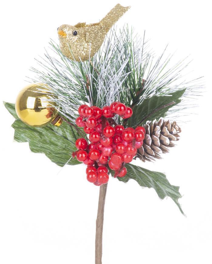 Vetvička MagicHome Vianoce, s vtáčikom, červeno - zlatá, 16 cm, bal. 6 ks