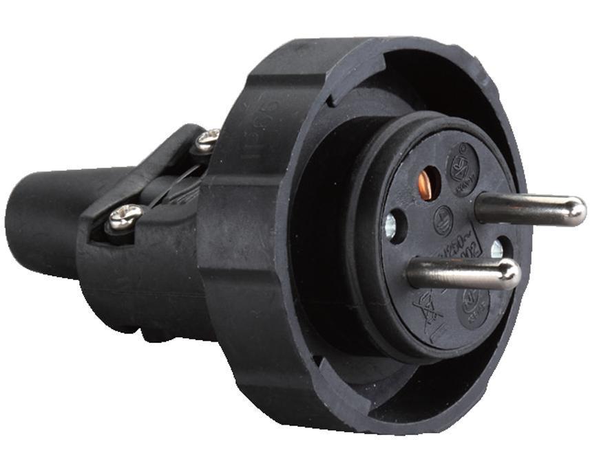 Vidlica do zásuvky Strend Pro, na predlžovací kábel, 230V, IP65, 16A, guma, čierna