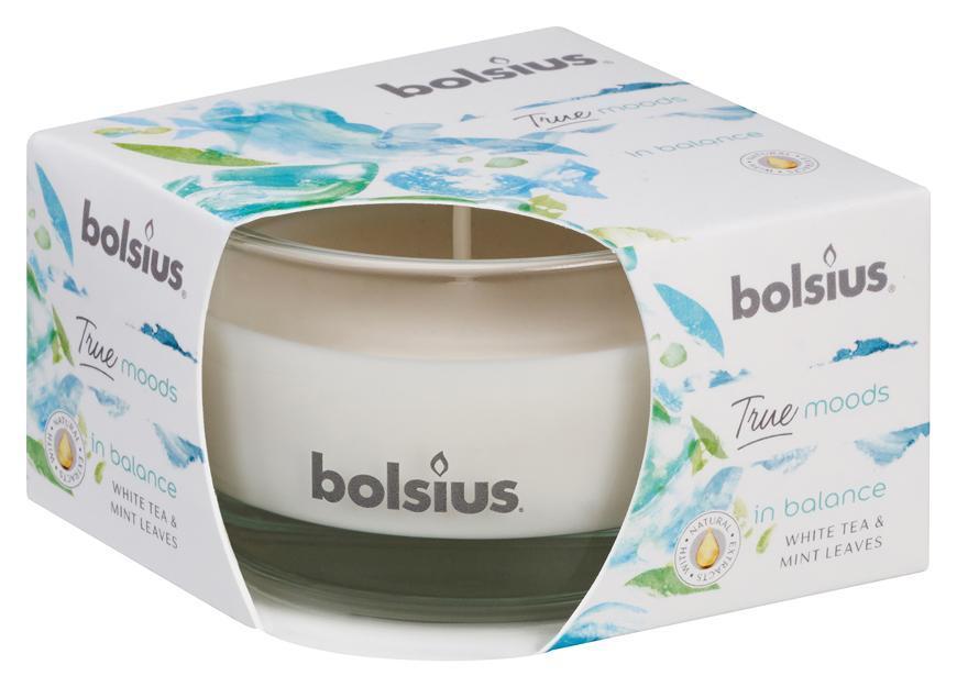 Sviecka bolsius Jar True Moods 50/80 mm, In balance (biely čaj a listy mäty)