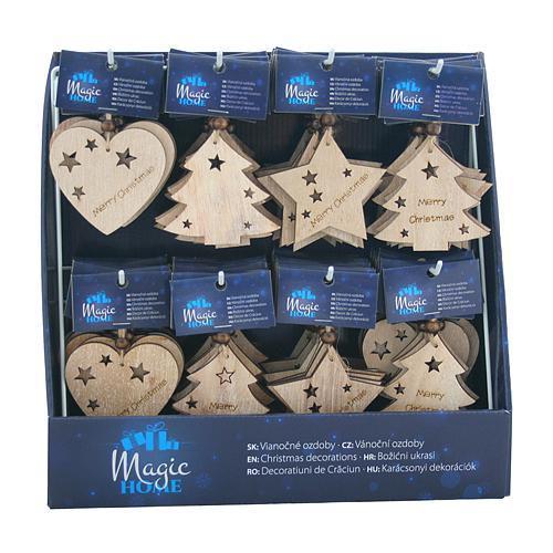 Ozdoba MagicHome Vianoce, 3 druhy, závesná, Sellbox 96 ks