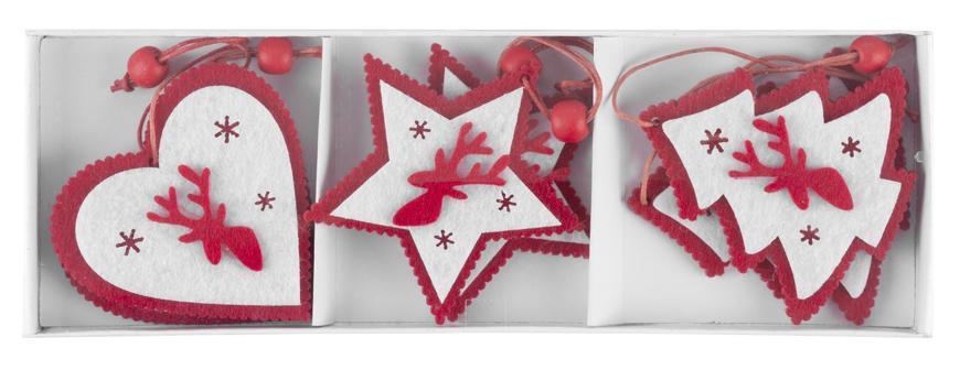 Ozdoba MagicHome Vianoce Woodeco, 3 druhy, bal. 6 ks, 7x7 cm
