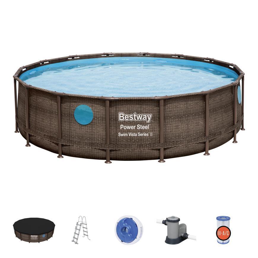 Bazen Bestway® Power Steel™, Vista Series, 56725, 488x122 cm, filter, rebrík, plachta, dávkovač