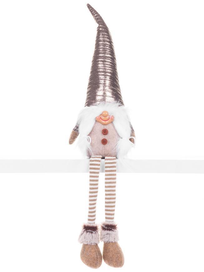 Postavička MagicHome Vianoce, Škriatok s dlhými nohami, látkový, strieborno-sivý, 17x12x59 cm