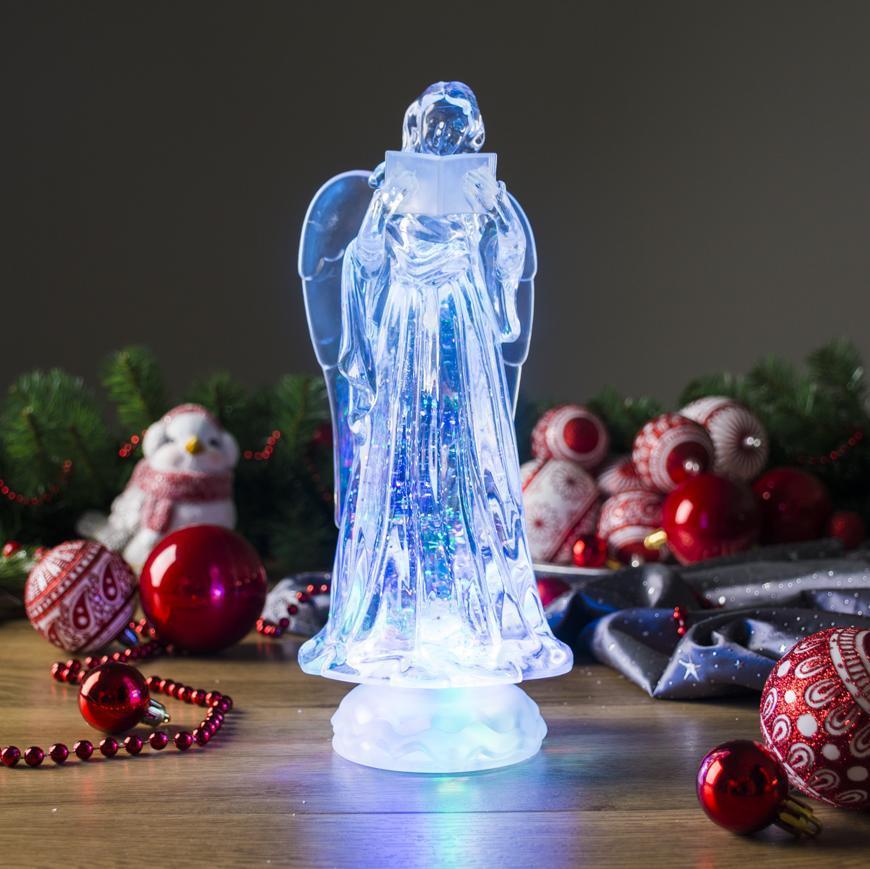 Dekorácia MagicHome Vianoce, Anjel, LED, meniaca farby, s plávajúcimi trblietkami, PE, 3xAAA, 10x25