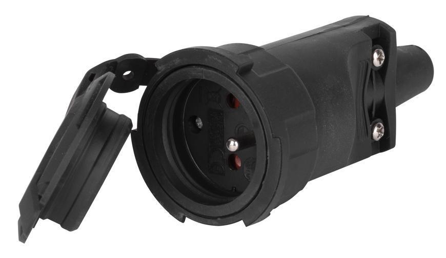 Zásuvka EMOS P0044, IP65, guma, čierna, na kábel