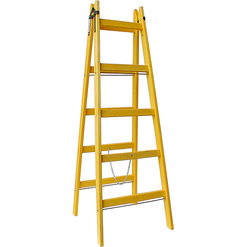 Rebrík DRD A 9 priečkový, 299 cm, drevený, 1 retiazka