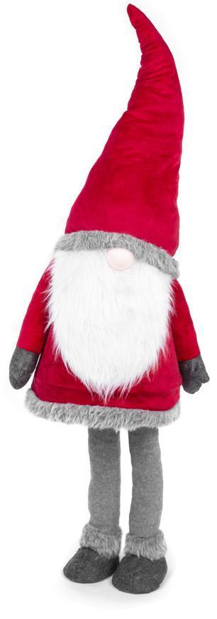 Postavička MagicHome Vianoce, Škriatok v šatách, látkový, červeno-sivý, 50x40x163 cm