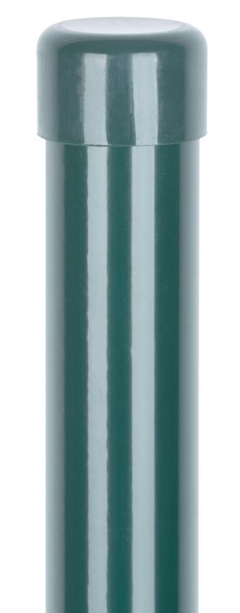 Stĺpik Strend Pro METALTEC, okrúhly, čiapočka, zelený, Zn+PVC, RAL6005, 48/1750/1,50 mm