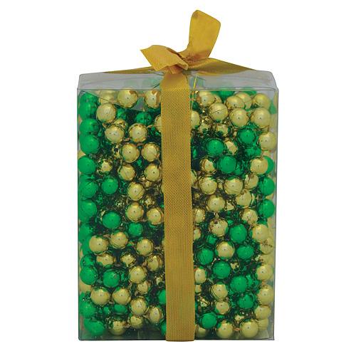 Ozdoba MagicHome Vianoce, girlanda - guľočky, zlatá/zelená. 9 m