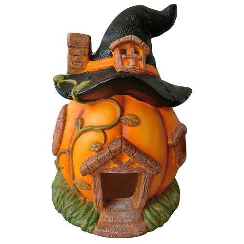 Dekoracia Xecco 2351, Tekvica, domček s klobúkom, keramika, 31 cm