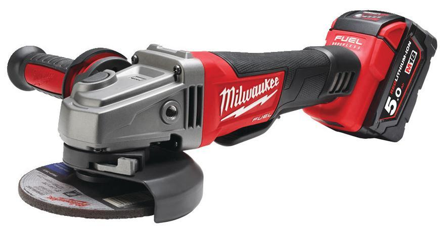 Bruska Milwaukee® M18 CAG125XPD-502X, 2x5.0Ah, bez aret., uhlová