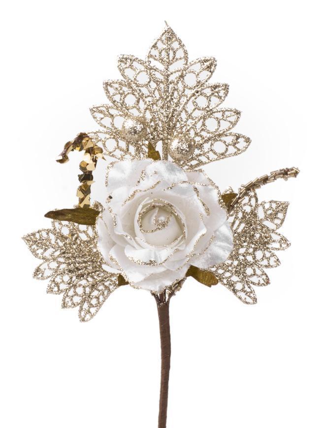 Vetvička s ružou, bielo - zlatá, 26cm, 6 ks