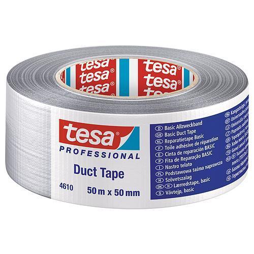 Páska tesa® BASIC Duct Tape, strieborná, textilná, 50 mm, L-50 m