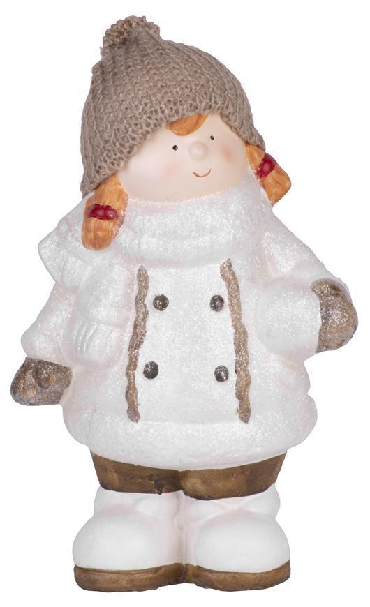 Postavička MagicHome Vianoce, Dievčatko bacuľaté s vrkočami a čiapočkou, terakota, 29 cm