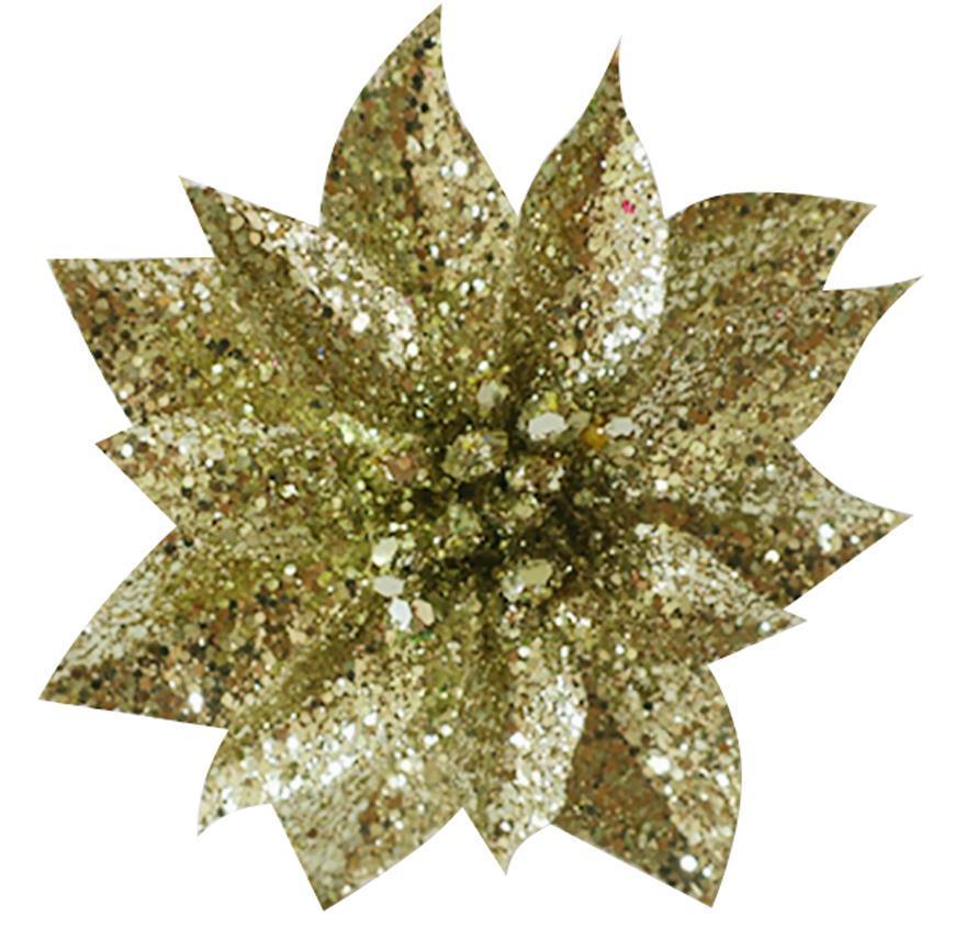 Kvet GlitterPoinsettia, so štipcom, zlatý, 9x8cm, 6 ks