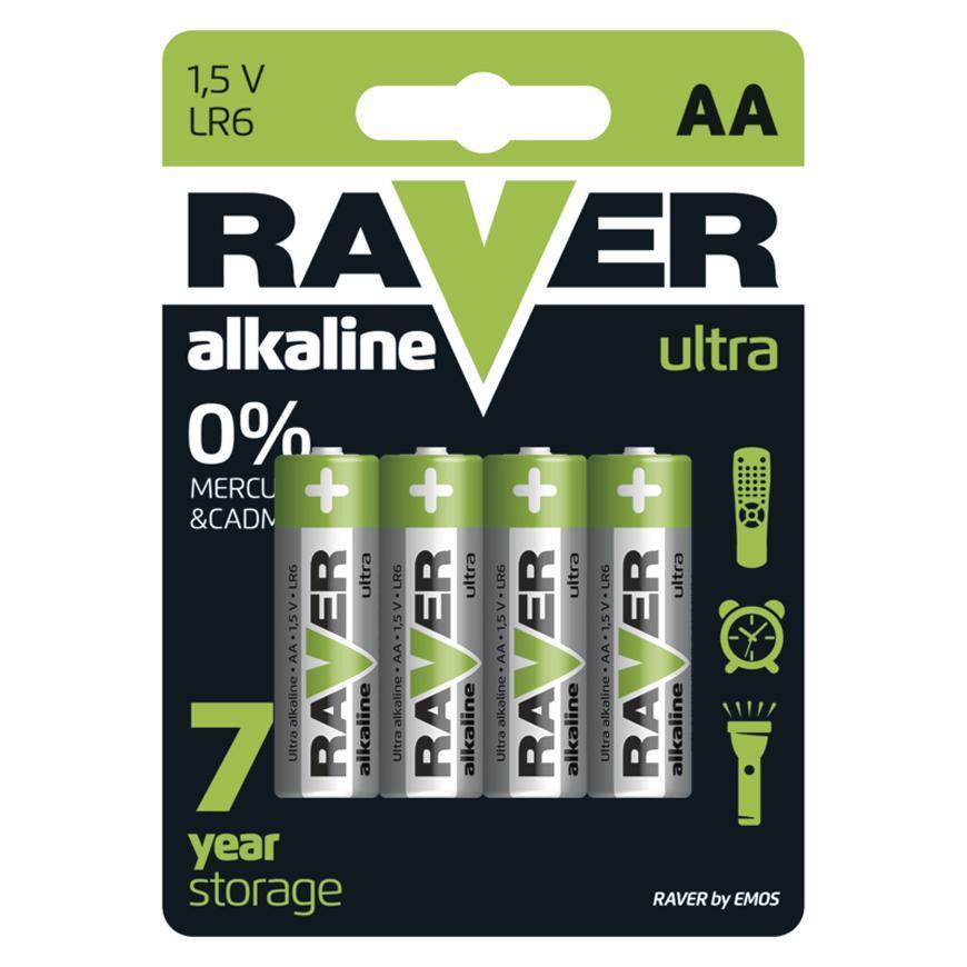 Batéria RAVER Ultra Alkaline, LR6, blister 4 ks AA tužka