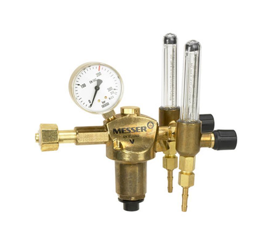 """Ventil Messer 717.08453, 2 x G1/4"""" DN6, 2x30l, Ar/CO2, 2 x prietokomer"""