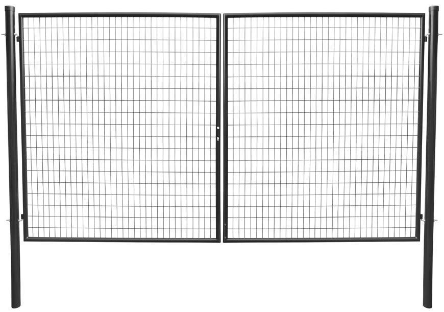 Brána Strend Pro METALTEC DUO, 3580/1950/100x50 mm, antracit, dvojkrídlová, záhradná, ZN+PVC, RAL701