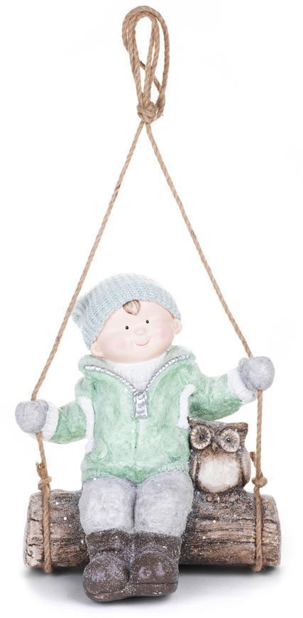 Postavička MagicHome Vianoce, Chlapček na hojdačke so sovičkou, závesná, keramika, 34,5x25,5x39,5 cm
