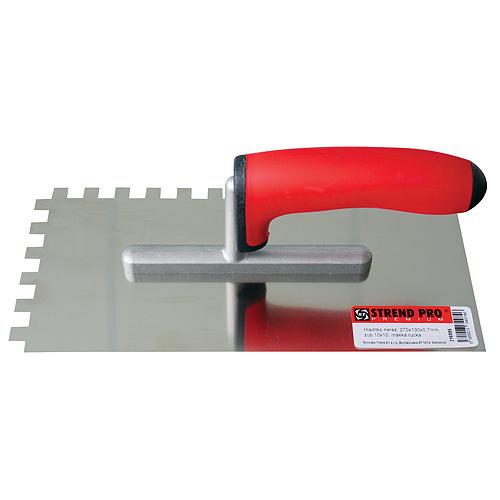 Hladítko Strend Pro Premium BRAVO, 270x130 mm, 0,7 mm, zuby 4x4 mm,s mäkkou rukoväťou, nerez