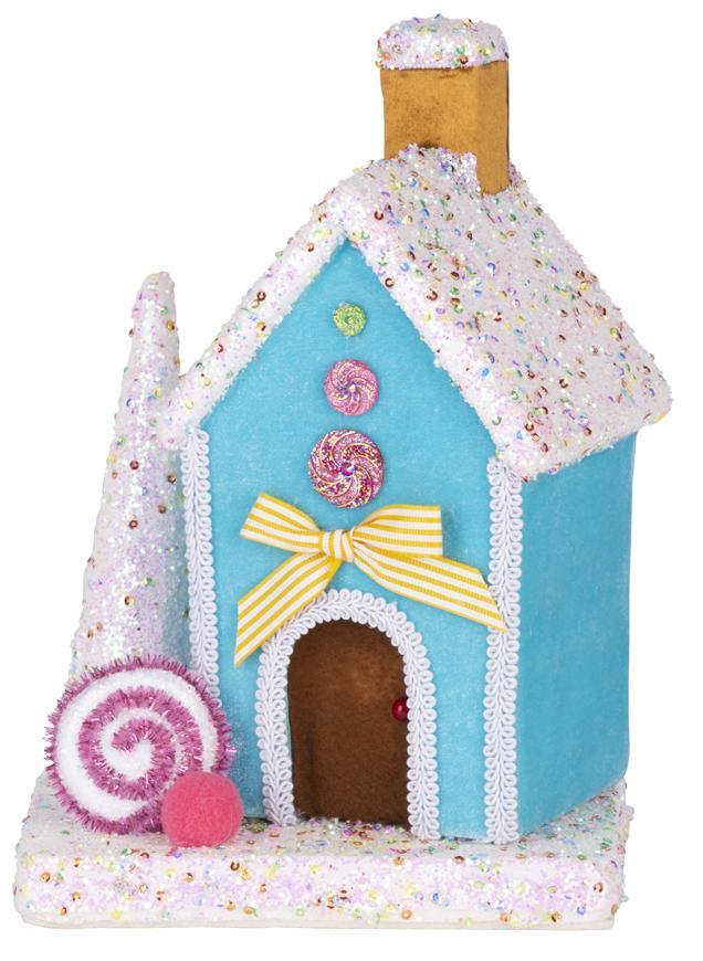Dekorácia MagicHome Candy Line, domček, modrý, 27 cm