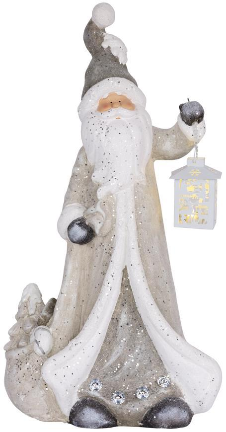 Dekorácia MagicHome Vianoce, Santa s lampášom, 1 LED, 2xAAA, keramika, 34x21x65 cm