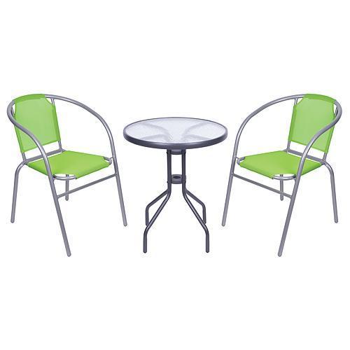Set balkónový BRENDA, zelený, stôl 72x59 cm, 2x stolička 60x71 cm