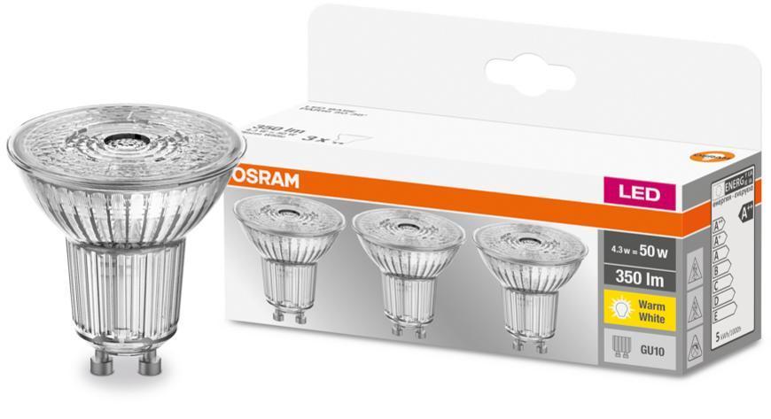 Ziarovka OSRAM® LED GU10 50 (ean8392) 36° 4,3W/840 4000K MULTIPACK bal. 3 ks, sklo, Star CLASSIC