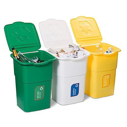 Kôš DEAhome ECO 3x 50 lit, zelený-žltý-biely, na recykláciu odpadu, v: 52cm, š: 39cm, h: 36cm