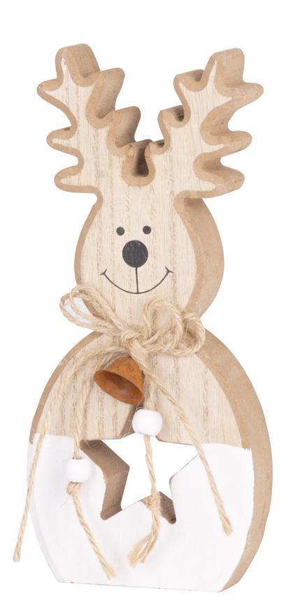 Dekorácia MagicHome Vianoce Woodeco, Sob, bal. 4 ks, 9x20 cm