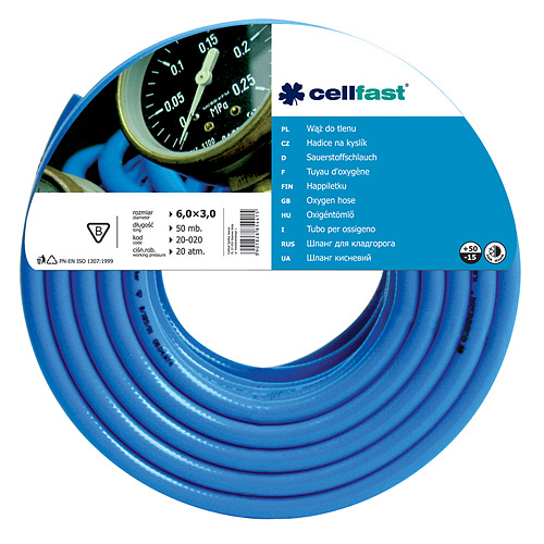 Hadica Cellfast 20-020, Oxygen 6,0x3,0 mm, L-50 m