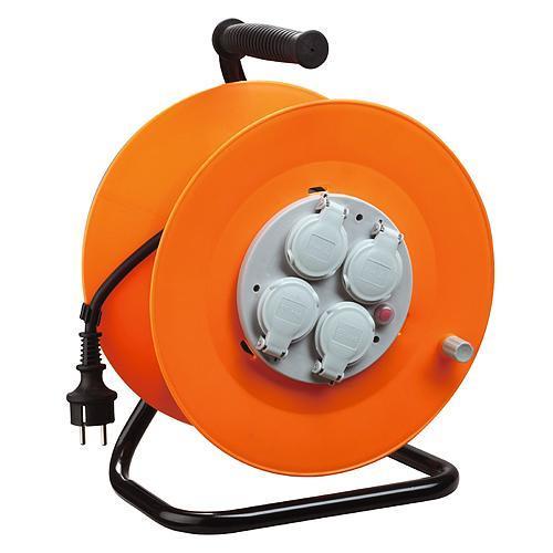 Kábel Strend Pro CR038, 4 zásuvky, L-50 m, IP44, guma, predlžovací, na bubne